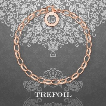 Charm Bracelets Round with Lobster Clasp, 925 Sterling Silver Fashion Jewelry Trendy Rose Gold Pulseiras Gift for Women Girls