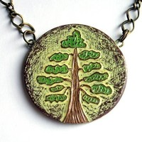 Green and Brown Woodland Tree Necklace - The Test of Time Necklace - Made to Order