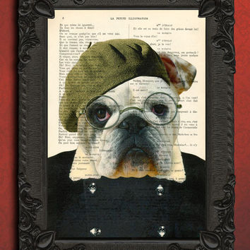 Hipster Bulldog Artist mixed media art print - Bulldog dictionary art print - bulldog home decor - well dressed dog print