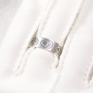 Sterling Ring Bear Claw Silver Band Vintage Jewelry