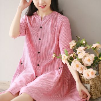 SHORT - SLEEVED STRIPES LOOSE LOOSE THIN COTTON AND LINEN DRESS