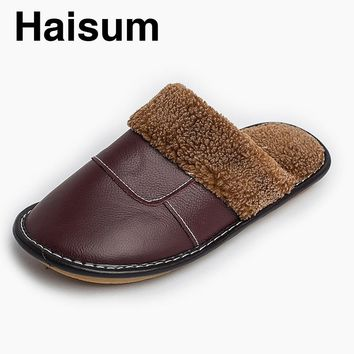 2017 Warm cotton slippers winter men and women home leather slippers couple home floor non - slip thick cotton shoes tb001