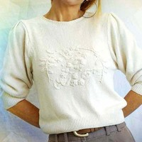 80s Sweater,Lightweight,Ivory,Puff Sleeve,Feninine,Silk,Embroidery,Silk