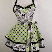 Women's Swetheart Sexy Green Black 2 Tier Apron-Made in the USA