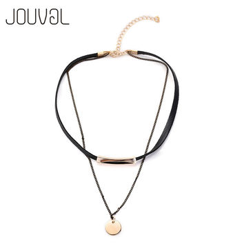 Fashion Black Leather Chain Double Choker 2016 Collier Popular Neck Choker Necklace Women Collar Jewelry Accessories N1569