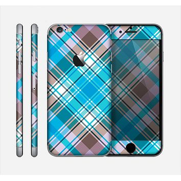 The Gray & Bright Blue Plaid Layered Pattern V5 Skin for the Apple iPhone 6