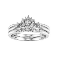 Cherish Always Certified Diamond Starburst Engagement Ring Set in 10k White Gold (1/4 Carat T.W.)