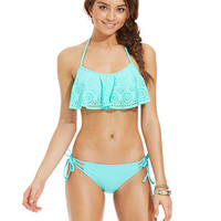 California Waves Laser-Cut Flounce Bikini Top & Side-Tie Bottom