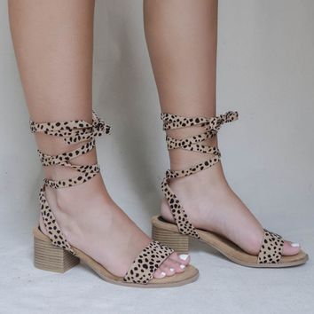 Toni Lace Up Leopard Strappy Heel