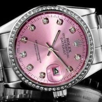 Rolex Pink Watch Women's fashion classic quartz watch Print Watch
