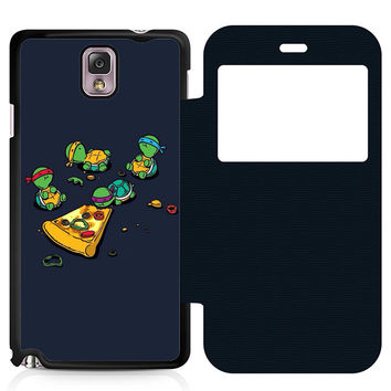 Ninja Turtles Pizza Leather Wallet Flip Case Samsung Galaxy Note 3