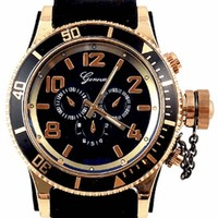 Rose Gold Black Mens Geneva Watch (Invicta Style) W/ Diesel Cologne