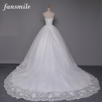 Fansmile Sexy See Throug Long Train Ball Quality Wedding Dress 2017 Plus Size Bridal Vintage Wedding Gowns Vestidos de Novia
