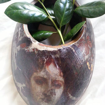 Vintage Wall Pocket Vase / Goddess Diana ghost image   Witchcraft  Wicca Pagan Altar area use