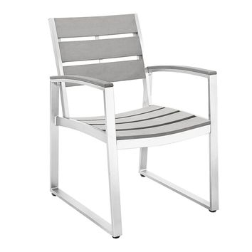 All-Weather Grey Patio Dining Chairs, Set of 2