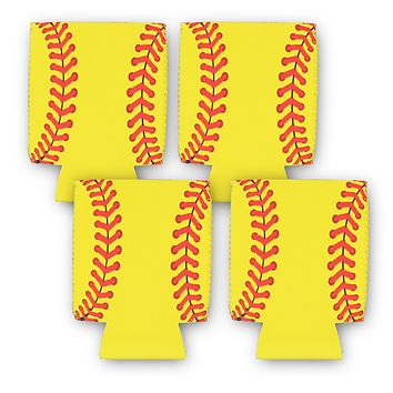 Softball 4 Can Cooler Neoprene Collapsible Holder Insulator Sleeve (4 Count)
