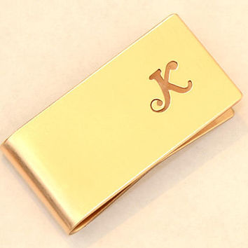 Bronze Money Clip Personalized with Hand Cut Calligraphy Inspired Initial – Perpendicular to Length Orientation - MC3917