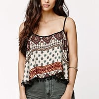LA Hearts Cropped Bobble Top - Womens Shirts - Multi