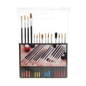 15Pcs Artist Horse hair Wooden Handle Paint Brush Set Oil Watercolor Painting Acrylic Drawing Brushes Art Supplies