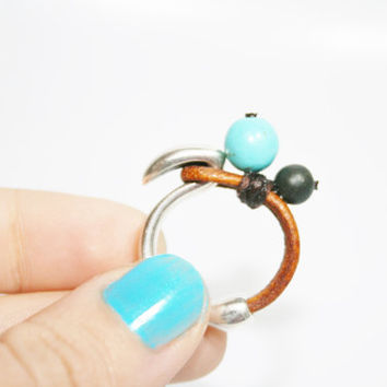 Turquoise ring, leather ring, stone ring, leather and metal
