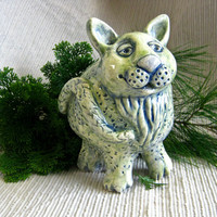 Cat Coin Bank, Cat Sculpture , Handmade Pottery, Animal Bank, Baby Shower Gift, Nursery Decoration, Clay Cat in Blue & Green, Free Shipping