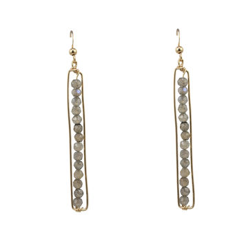 Semi-Precious Stones Bar Earring
