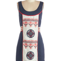 ModCloth Folk Art Mid-length Sleeveless Sheath Art Inspiring Dress