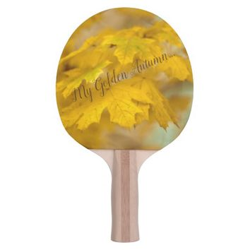 Yellow autumn maple leaves. Add text. Ping-Pong Paddle