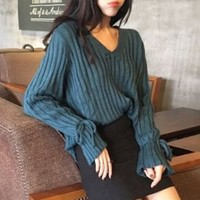 V-Neck Tie-Cuff Sweater