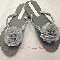 Silver Gray Flip Flops Grey Satin Flower Bling Wedding Bridal Bride Bridesmaid Flower Girl Tropical Beach Rhinestones