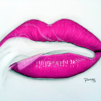 Pink Smoke Lips Art Print by Roman0701
