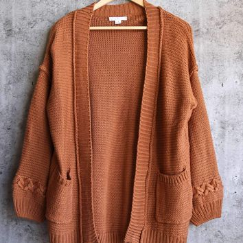 someday maybe open-front knit cardigan - camel
