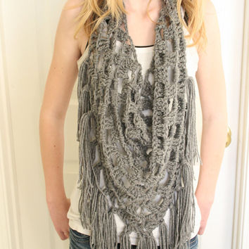 Triangle Neck Scarf Cowl Necklace Crochet by nightowlcreates