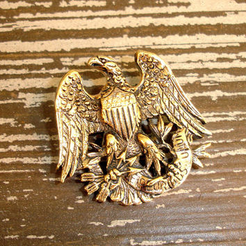 Vintage Sarah Coventry Brooch, Bald Eagle, E Pluribus Unum Pin, Coat of Arms, Great Seal of the United States, Collectible Americana