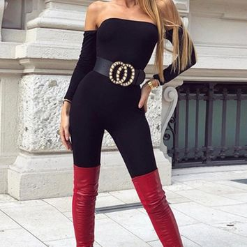Dangerous Woman Black Long Sleeve Off The Shoulder Bodycon Skinny Jumpsuit