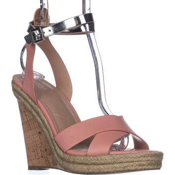 Charles Charles David Brit Wedge Sandals, Blush/Silver, 8.5 US