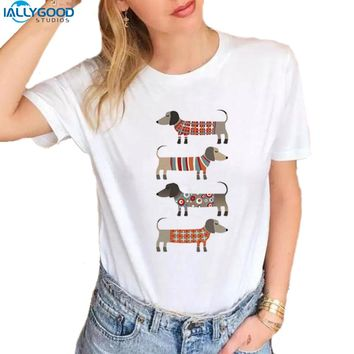 Summer Funny Dachshund T-Shirt Women Too Long Wiener Dog Printed O-neck T shirts Soft Short Sleeve Women White Tops S1540