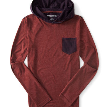 Long Sleeve Stripe Panel Hooded Tee