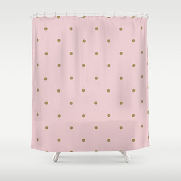 pink & gold polka dots Shower Curtain by SuzanneCarter