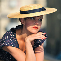 Lux Oversize Boater Hat from The Natural Straw Collection by Orizu