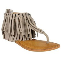 Not Rated Keep the Peace Fringe Sandals in Taupe NRSA0065-277