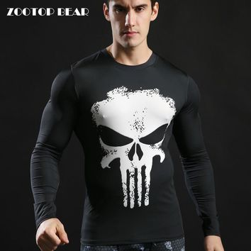 Compression Tshirts Punisher Top 3D Long Sleeve Fitness Tight T-shirt Superhero Skull Printed Tactical 2017 Camiseta ZOOTOP BEAR