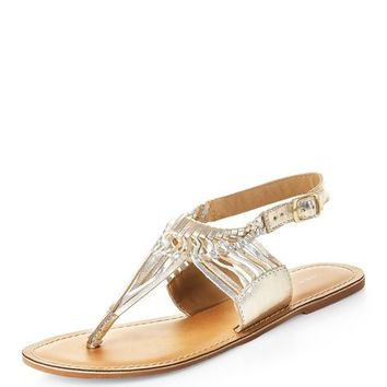 Gold Leather Twisted Strap Sandals
