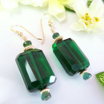 Chrome green tourmaline quartz nugget gold dangle earrings, Emerald City of Oz earrings