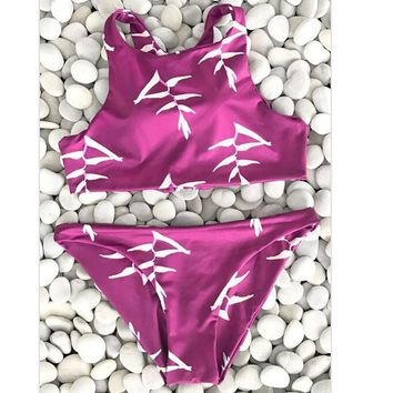 Sexy new arrival red white print vest high neck two piece bikini back lace up hollow swimsuit