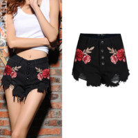 Women's Jeans Shorts Pure Black High-waist Rose Embroidered Jeans Shorts