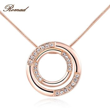 2017 Romad Brand Classic Necklace for Women Double Circle Pendant Women Necklace Rose Gold Color Chain Mother's Day Gift