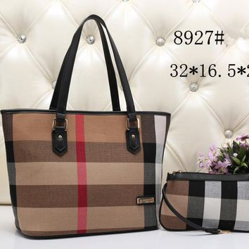 """Burberry"" Women Casual Multicolor Stripe Handbag Single Shoulder Bag Small Bag Set Two-Piece"