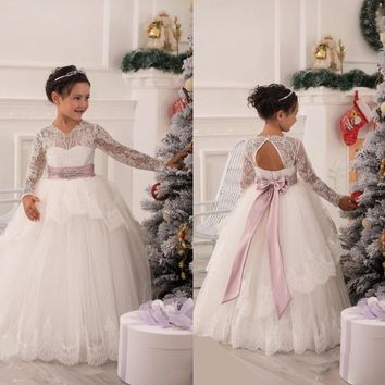 2017 New 2015 Christmas Lace Flower Girl Dresses Long Sleeve Hollow Back Floor Length Bow Sash Princess Ball Gown Pageant Kid's