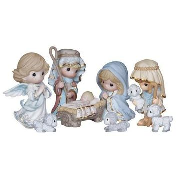 """Come Let Us Adore Him"" 8 Piece Nativity Set, Bisque Porcelain Figurines"
